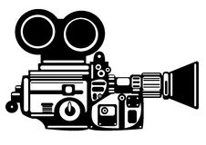 Vector vintage film camera isolated on white Stock Images