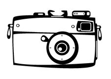 Vector vintage film photo camera isolated on white Royalty Free Stock Photography