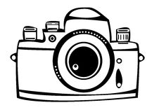 Vector vintage film photo camera isolated on white Stock Photography