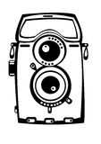 Vector vintage film photo camera isolated on white. Background Royalty Free Stock Photos