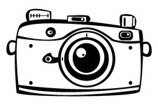 Vector vintage film photo camera isolated on white Royalty Free Stock Images