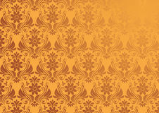Vector Vintage Floral Background In Gold. Seamless Wallpaper Royalty Free Stock Image