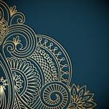 Vector vintage ornamental background. Vector vintage floral decorative background for design invitation card, booklet, print. Gold and blue Stock Image