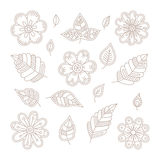 Vector vintage floral design elements set in mono line style Stock Photo