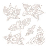 Vector vintage floral design elements set in mono line style Stock Images