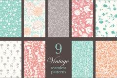 Vector Vintage Floral Elegant 9 Set Seamless Royalty Free Stock Photo