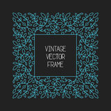 Vector vintage floral frame on black background in mono thin line style Stock Image