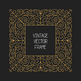 Vector vintage floral frame on black background in mono thin line style Royalty Free Stock Images