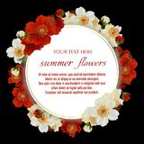 Vector vintage floral frame with Luxurious summer flowers. Template for greeting cards, wedding decorations, invitation, sales. Round Vector banner with Royalty Free Stock Image