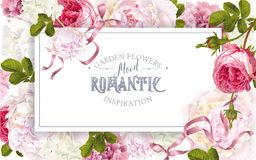 Romantic garden frame. Vector vintage floral frame with peony, hydrangea, rose flowers and ribbon. Romantic design for natural cosmetics, perfume, women products stock illustration