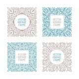 Vector vintage floral frame set for your text, monogram or pictogram in mono line style Stock Photos