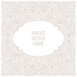 Vector vintage floral frame on white background in mono thin line style Stock Photos
