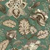Vector vintage floral pattern, Provence style. Big stylized flowers on a green background. Design for web, textile stock illustration