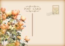 Vector Vintage Floral Postcard Stock Photography