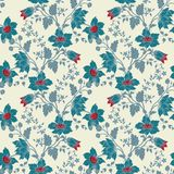 Vector vintage floral seamless blue flower Stock Photos