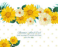 Vector Vintage floral Summer card. Hot template design with palm leaves and sunflowers and exotic flowers. Vector Vintage floral Summer card. Hot template design Stock Photography