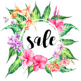 Vector vintage floral tropical sale card Royalty Free Stock Photo
