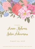 Vector vintage floral wedding invitation. Stock Photos