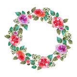 Vector Vintage floral wreath wedding frame with rose flowers and leaf. Greeting card. Hand-drawn watercolor elements Royalty Free Stock Photo