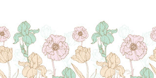 Vector Vintage Flowers Pastel Horizontal Border Seamless Repeat Pattern With Tulips, Poppies, Iris In Classic Retro Stock Photography
