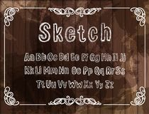 Free Vector Vintage Font, Sketched White Chalk Drawings, Scribble Lines, Rectangular Filigree Frame On Wooden Background. Royalty Free Stock Photos - 159590868