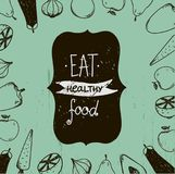 Vector vintage food illustration, eat healthy food. food around. Use for menu, ad, as poster, card, flyer etc Royalty Free Stock Images