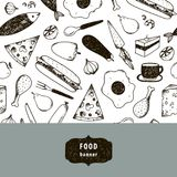 Vector vintage food illustration, hand drawn banner, card, flyer with black and white pattern. Cheese, pizza, egg, chicken, carrot etc Royalty Free Stock Photos