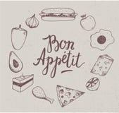 Vector vintage food illustration. Hand drawn. engraved illustration for restaurant. Cafe Stock Photography