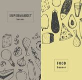 Vector vintage food illustration. Supermarket promotion, restaurant vertical banners. Hand drawn Royalty Free Stock Photography