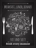 Vector Vintage Food Poster. Vector Vintage Breakfast, Lunch or Dinner Poster Background Stock Images