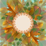 Vector vintage frame with autumn leaves Royalty Free Stock Images