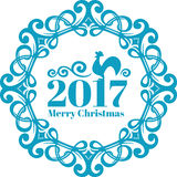Vector Vintage frame on blue-ice color. New year card c symbol. The rooster. Merry christmas text Royalty Free Stock Photography