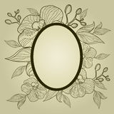 Vector vintage frame with flowers - orchid Royalty Free Stock Image
