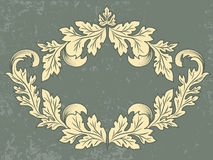 Vector vintage frame with grunge background. Wedding invitation and announcement card with floral elements Stock Photo