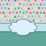 Vector vintage frame with hearts. Royalty Free Stock Photo