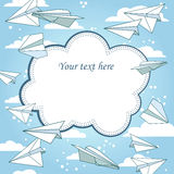Vector vintage frame with paper planes. Stock Images