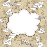 Vector vintage frame with paper planes. Royalty Free Stock Images