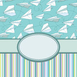 Vector vintage frame with paper planes. Stock Photos