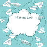 Vector vintage frame with paper planes. Royalty Free Stock Photo