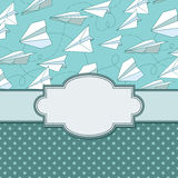 Vector vintage frame with paper planes. Royalty Free Stock Photography