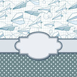 Vector vintage frame with paper planes. Stock Photo