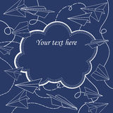 Vector vintage frame with paper planes. Royalty Free Stock Photos