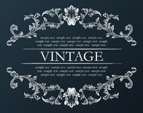 Vector vintage frame. Royal retro ornament decor black Stock Photography