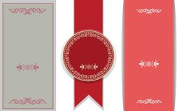 Vector of vintage frame set, blank retro badges and labels. Royalty Free Stock Photos