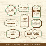 Vector vintage frame set on wood texture background design eleme. Vector vintage frame set on wood texture background calligraphic design elements Royalty Free Stock Photo