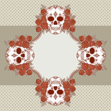 Vector vintage frame with skulls Royalty Free Stock Images