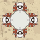 Vector vintage frame with skulls Royalty Free Stock Photos