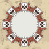 Vector vintage frame with skulls Royalty Free Stock Image