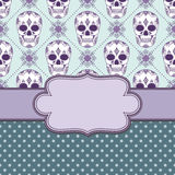 Vector vintage frame with skulls Royalty Free Stock Photo
