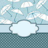 Vector vintage frame with umbrellas Royalty Free Stock Photography